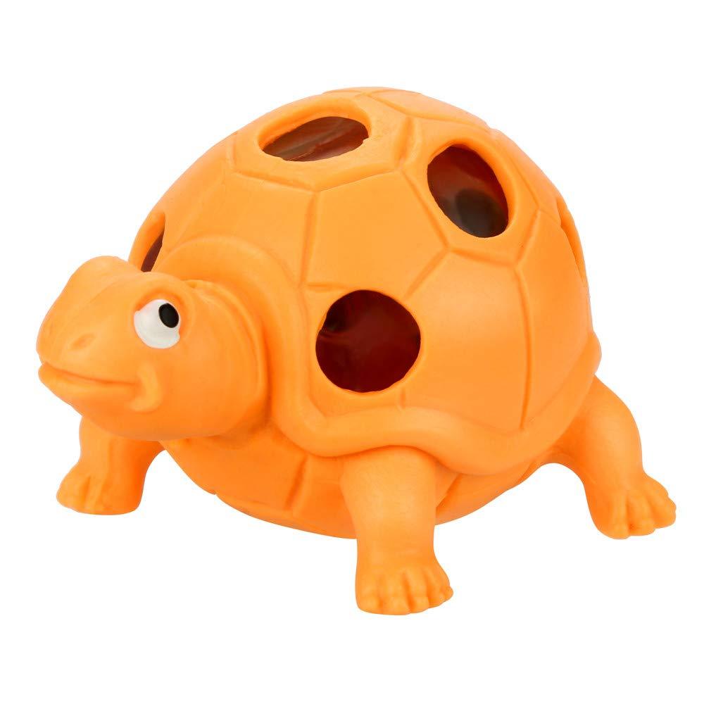 Bescita Stressabbau-Spielzeug, Spongy Bead Rainbow Ball Relief Schildkröte Langsam Steigende Squeeze Toys Duft Stressabbau Spielzeug (9x5x5cm) (Orange)