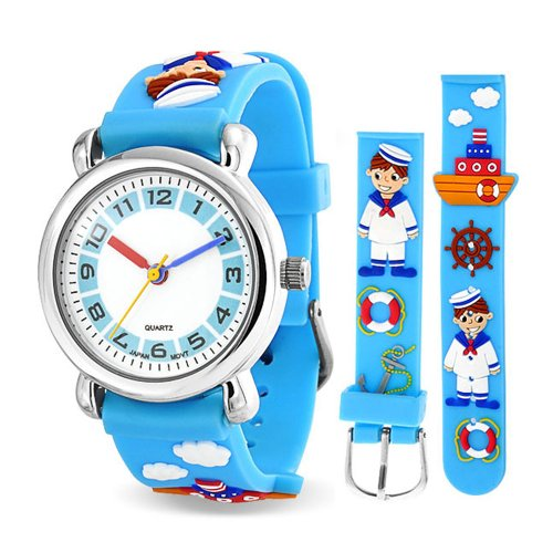 Bling Jewelry Blue Sailor Tugboat Nautical Kids Watch Stainless Steel - Tug Nautical