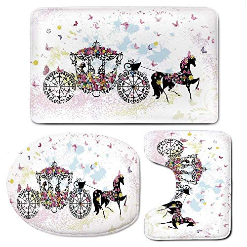 Bath Mat Sets Floral Carriage Black Horse Colorful Flowers Fairy Butterfly Contour Rug U-Shaped Toilet Lid Cover,Non Slip,Machine Washable,3-Piece Rug Set Easier to Dry for Bathroom