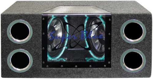 12 Bandpass Subwoofer - 1000W Dual Bandpass Speaker System - Car Audio Subwoofer w/ Neon Accent Lighting, Plexi-Glass Front Window w/ 4 Tuned Ports, Silver Polypropylene Cone & Rubber Edge Suspension - Pyramid BNPS102