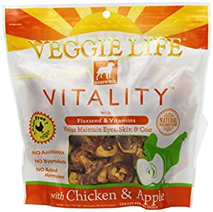 Dogswell Veggie Life Vitality Treats for All Dogs,  Apple & Chicken, 15-Ounce Pouches (Pack of 3)