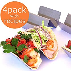TACO HOLDER - TACO HOLDERS - TACO PLATES - TACO STAND - TACO RACK - SET OF 4 - HOLDS 2 TACOS EACH - Restaurant taco holder is a perfect size to have room for sides, (beans, chips, and salsa), preferred by restaurants nationwide. Holds tacos upright e...