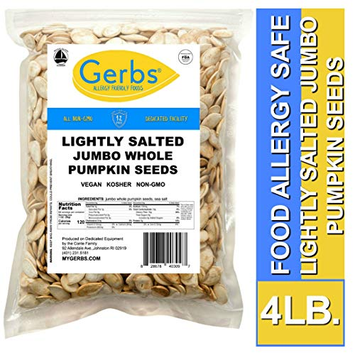 Jumbo Lightly Sea Salted Pumpkin Seeds, 4 LBS by Gerbs - Top 14 Food Allergy Free & Non GMO - Vegan, Keto Safe & Kosher - Extra Large In-Shell Pepitas grown in USA