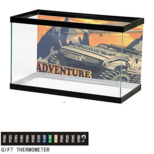 (Jinguizi AdventureFish Tank BackdropGrunge Retro Poster of a Big Car with Huge Tyres and Biplane on The Mountains36 L X 24
