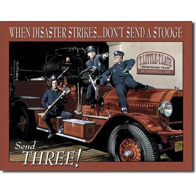 "Stooges Fire Dept. Tin Sign 16""W x 12.5""h by Poster Revolution"