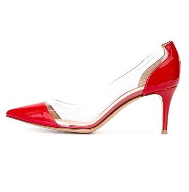 Kolnoo 65mm Damen Transparent Pumps Knitte Heel Geschlossen Schuhe
