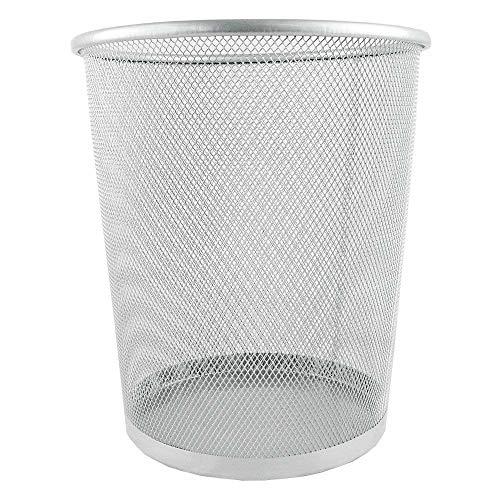 Moligh doll Circular Mesh Bin Waste Paper Basket Bin (Silver)