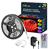 LE 5M RGB LED Strip Lights Kit, 150 SMD 5050 LED Tape, Colour Changing Mood Lighting, Dimmable, Power Supply and Remote Controller Included