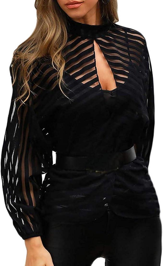 Blusa Mujer Transparente con Rayas Blusa Negra Transparente Top Mujer Camiseta sin Botones Camisa Moderna Manga Larga Transparente: Amazon.es: Ropa y accesorios