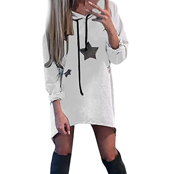 Vestidos de invierno,Dragon868 Mujeres pentagrama impresa hoodies mini vestido (Blanco, S)