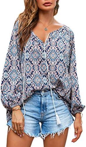LUCKLISA Women's Long Sleeve Casual Boho Floral Print V Neck Shirts Tops Loose Blouses