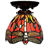 Bieye Tiffany Style Stained Glass Dragonfly Semi Flush Mount Ceiling Fixture with 7 inches Handmade Lampshade - Suitable for Decorating Room (Red Dragonfly)