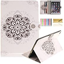 iPad Air 2 Case, iPad 6 Case, Dteck(TM) Pretty Cute Cartoon Flip Kickstand Case with {Card Money Slots} Full Body Protection Premium Synthetic Leather Wallet Cover for Apple iPad Air 2-Datura Flower