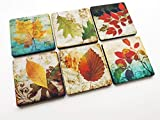 Autumn Leaves Fall set of 4 or 6 Coasters 3.5 inch drink beverage Thanksgiving home decor hostess gift