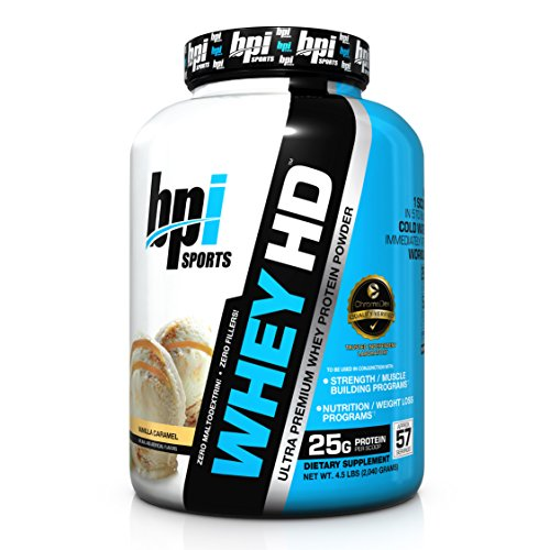 BPI Sports Whey-HD Ultra Premium Whey Protein Powder, Vanilla Caramel, 4.5 Pound