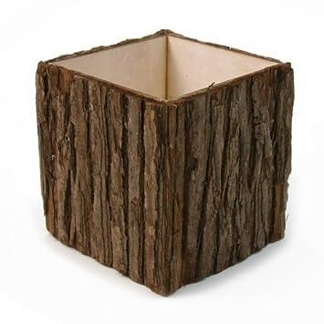 Amazon Koyal Wholesale 5 Natural Wood Bark Cube Vase 12 Pack