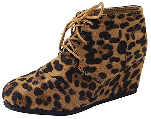 Cambridge Utvalda Womens Stängda Rund Tå Spets-up Kil Vrist Bootie Leopard Imsu