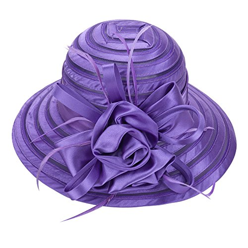 Lawliet Womens Satin Church Wedding Kentucky Derby Sun Hat A214 (Purple) Purple Satin Hat
