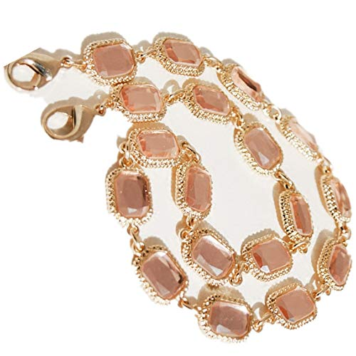 High-end Wide 15mm Pink Crystal Shape Golden Chain Strap for Replacement Mini Women Bags Shoulder Bags Handbags Messenger Bags Purse Bags (Length 63 -