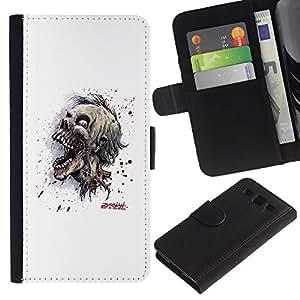 // PHONE CASE GIFT // Moda Estuche Funda de Cuero Billetera Tarjeta de crédito dinero bolsa Cubierta de proteccion Caso Samsung Galaxy S3 III I9300 / Evil Zombie Skull /