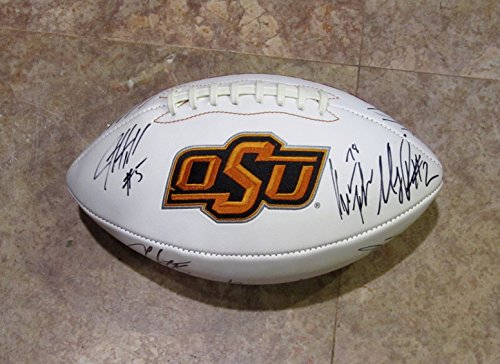 2017 OKLAHOMA STATE COWBOYS TEAM Multi Signed AUTOGRAPHED F.S. Logo FOOTBALL Mike Gundy Mason Rudolph w/COA