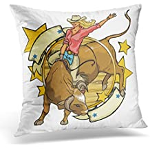 UPOOS Throw Pillow Cover Girl Rodeo Cowgirl Riding Bull Design with Space for Text Western Vintage Decorative Pillow Case Home Decor Square 18x18 Inches Pillowcase