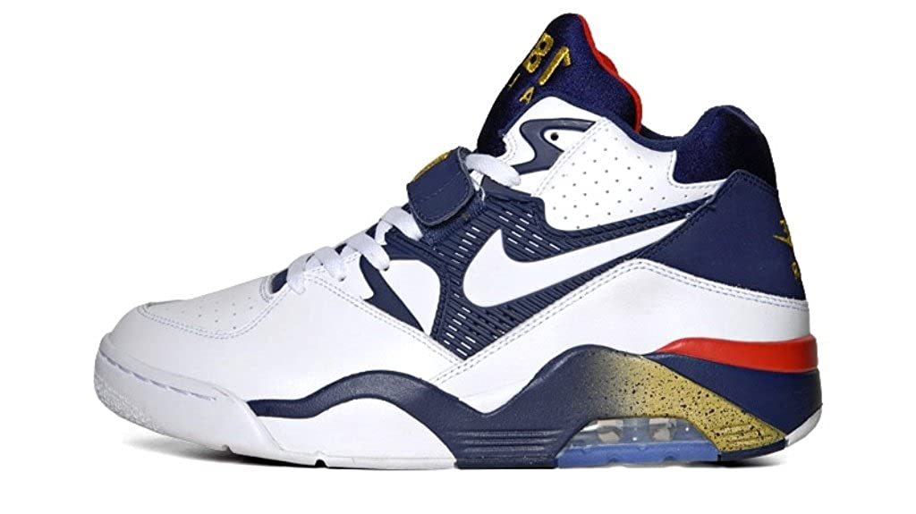 detailed look 9cfc9 6236d Amazon.com  Nike Air Force 180 (Charles Barkley Olympic) WhiteWhite-Mid  Navy-Mttlc Gold (12)  Basketball