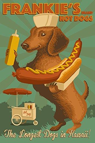 Hawaii - Dachshund - Retro Hotdog Ad SIGNED Master Giclee Print