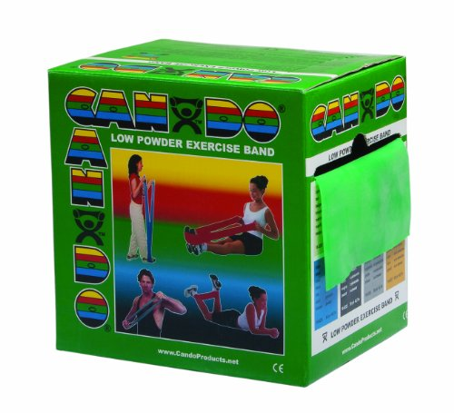 CanDo Low Powder Exercise Band, 50 yard roll, Green: Medium (Yard Latex 50)