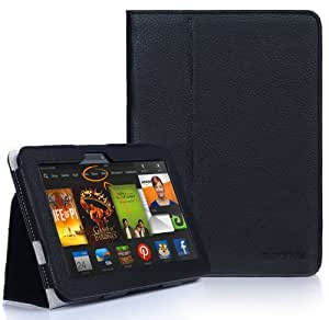 "SUPCASE Amazon All-New Kindle Fire HDX 7"" Slim Fit Folio Leather Case (Black) - Elastic Hand Strap, Not Compatible with All New Kindle Fire HD 7""/Kindle Fire HD 7"" (2012 Version)/Kindle Fire HDX 8.9"""