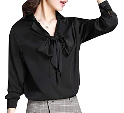 6a4dfdc3 GAGA Women Long Sleeve Bow Tie Neck Plus Size Button Down Shirt Top Black XS