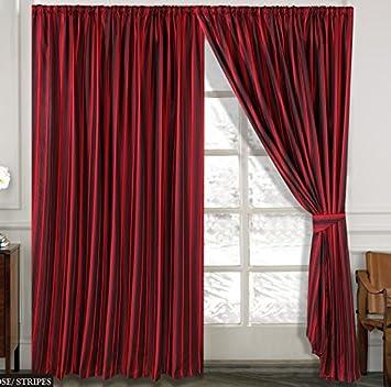 Streifen Vorhange Ornament Barock Rot Vorhänge Mit Kräuselband 230x230cm  Gardine Für Wohnzimmer Schlafzimmer  2er Set