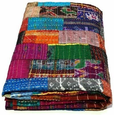 new kantha bedspread Indian handmade quilt coverlet size-multi