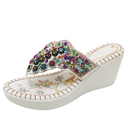 Style High Sandals White Women's New Carolbar Thong Beaded Wedge Heel EHIwEWqR