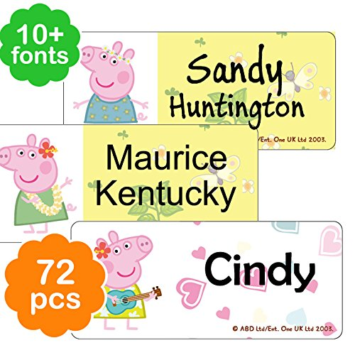 72 Pieces Personalizable Peppa Pig Designs Waterproof Name Labels/Tags/Stickers for Daycare, Preschool, Kindergarten -
