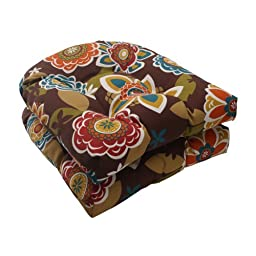 Pillow Perfect Indoor/Outdoor Annie Wicker Seat Cushion, Chocolate, Set of 2