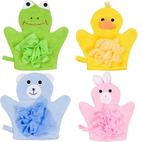 Hand Puppet Bath Wash Mitt Towel with Animal Designs for Children bath toy by Made Easy Kit ()