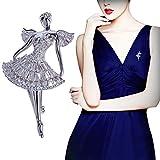 PunkStyle Fashion Rhinestones Crystal Elegant Dancing Ballet Angel Art Accessory Brooch Pin for Romantic Wedding Bridal Gift
