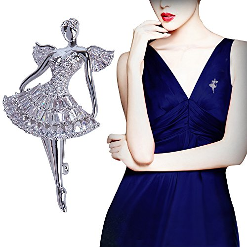 PunkStyle Trendy Rhinestones Crystal Elegant Dancing Ballet Angel Jewelry Brooch Pin for Romantic Wedding Bridal Gift