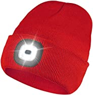 LED Beanie Hat with Light, USB Rechargeable, Headlamp Cap Adjustable Brightness, Unisex Winter Warmer Knit Hat