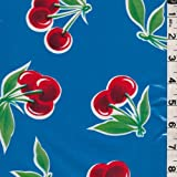 Blue Cherry Oilcloth, Fabric By the Yard