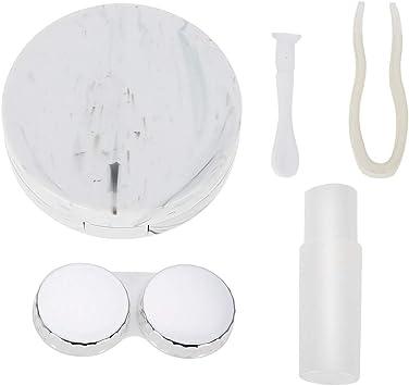 Estuche de remojo de lentes de contacto con patrón de mármol, Cuatro colores opcionales Estuche de viaje para lentes de contacto con estilo (nueva llegada 2019) (Color : White): Amazon.es: Belleza