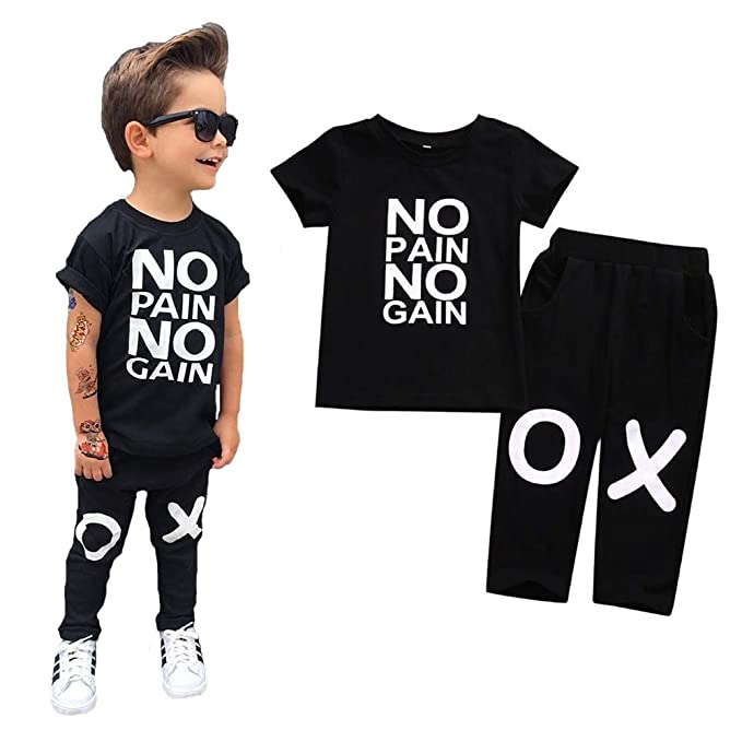 ed9280a92 2pcs Toddler Kids Baby Boys Summer Outfits Letters Print Casual T-Shirt  Tops+Pants