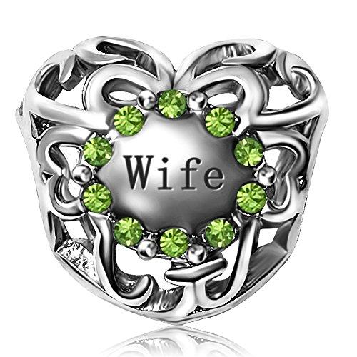 - JMQJewelry Heart Wife I Love You Birthstone August Birthstone Green Rhinestone Charm Beads for Snake Chain Bracelet