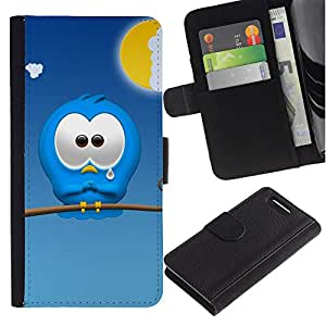 All Phone Most Case / Oferta Especial Cáscara Funda de cuero Monedero Cubierta de proteccion Caso / Wallet Case for Sony Xperia Z1 Compact D5503 // Sad Cartoon Character Blue Monster Cute Art