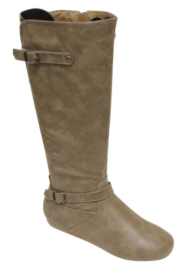 Top Moda Tab-77 Women's fine buckled straps decor round toe side zipper elastic rear design knee high flat PU boots Khaki 6.5