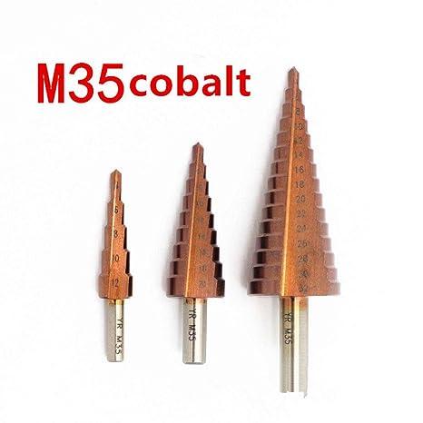 Broca de paso titanio plateado placa de acero inoxidable m35 ...