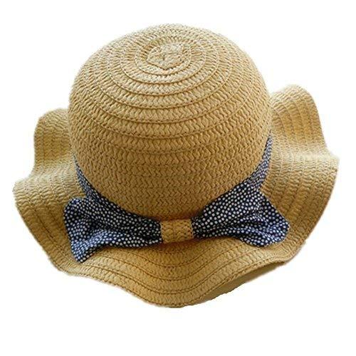 Spring/Summer Cotton Baby Girls 's Outdoor Bowknot Sun Hat/Beach Hat (19.3 in(49 cm)/18-24 Months, Straw hat)