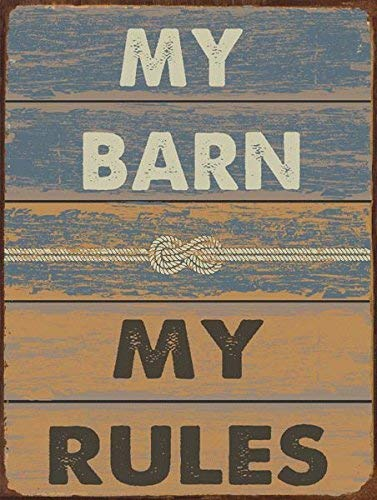 Destiny'S My Barn My Rules Metal Sign, Stable, Rustic Decor, Cowboy,Ranch