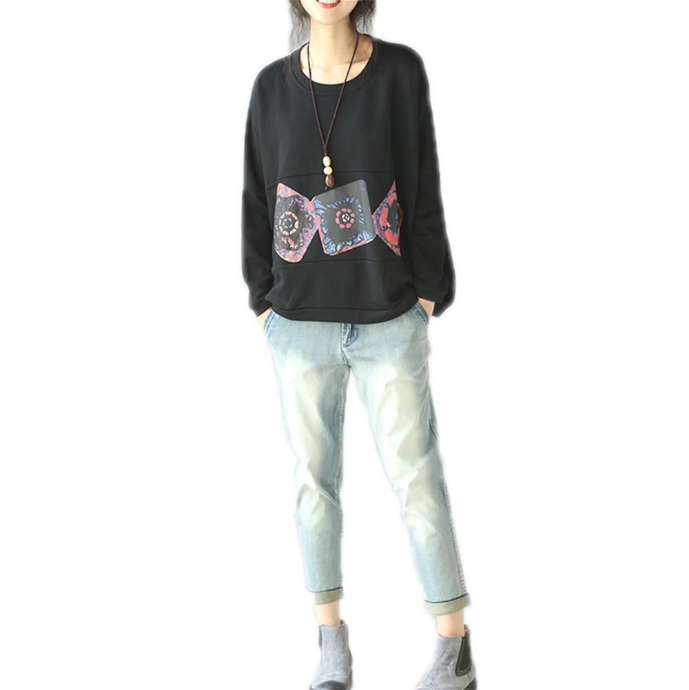 Nuan Jia Feng literaria camisa de algodón temperamento femenino yardas grandes flojas de la manga del palo del suéter del otoño